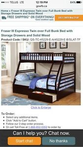 Costco Bunkbed with covered memory foam mattresses