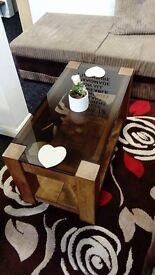 Rustic Pine Glass Coffee Table