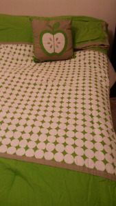 Single bed comforter and decorative pillow.