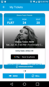 SHANIA TWAIN 2 FLOOR TICKETS - FIRST ONTARIO CENTRE JUNE 30TH