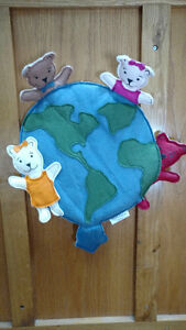 Adorable felt teddy bear and earth wall decoration