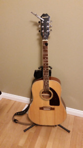 Epiphone AJ-200S/N Acoustic Guitar with accessories