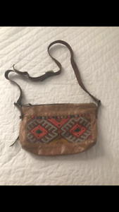 Grace Design purse made from vintage leather and Moroccan rug