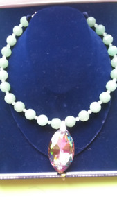 STUNNING horse eye, mystic topaz and jade necklace!