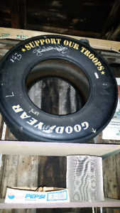 Richard Petty signed race used tire #43 Support our troops