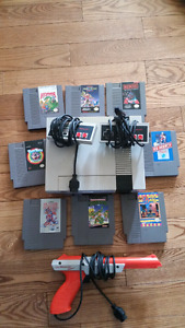 Nintendo nes controllers all cables zapper and games
