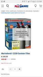 marineland c 220 canister filter. fish tank.