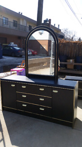 Black dresser, night stand and mirror, all for $80