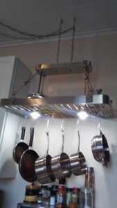 lighted stainless steel pot hanging/holder