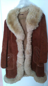 Womens' Leather (Suede) long winter coat