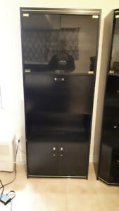 2 Wall Unit Black with Light Inside and Fridge Good Condition