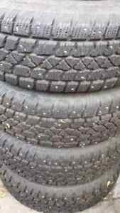 Studded Winter Tires On Wheels