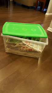 Container full of newspapers/baby wipes