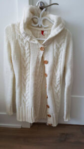 White wool coat with hoodie and white sash