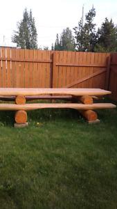 Handmade log picnic table