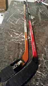 Bauer and sherwood hockey sticks
