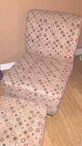 Accent chair, foot stool and 3 cushions
