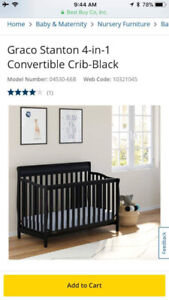 Graco 4 in 1 black crib 1 year old used once