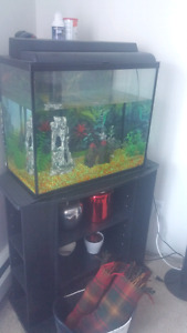 30 gallon fish tank with shelve. Moving sale.