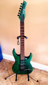 "Vantage ""super strat"" guitar - 24 fret - Translucent Green"