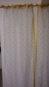 Ikea curtain panels- sheer white with gold crowns
