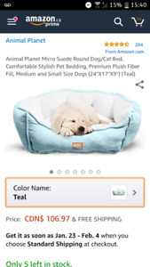 Dog Bed Animal Planet Micro Suede Teal Small Medium