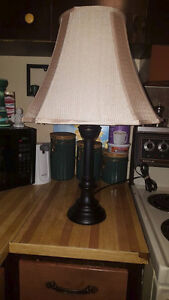 """Beige and Black Lamp 26"""" Tall"""