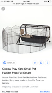 Animal cage with pen attachment