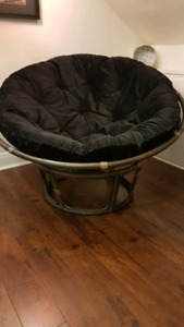 Papasan Chairs, storage bench, small table and chair