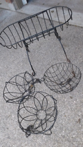 3 metal hanging baskets .PLUS large flower planter