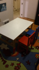 Kid's adjustable table and two chairs
