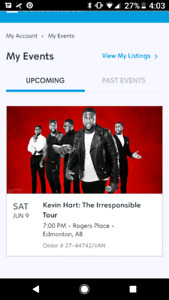 Two tickets available for Kevin hart in Edmonton