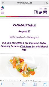 2 tickets for the Sold out Canadas table