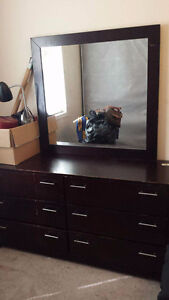 Dresser with mirror and bedside table