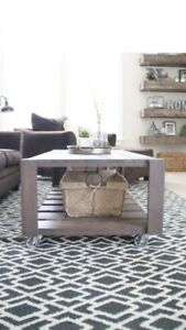 New Coffee Table on Wheels - Well Built - Real Wood – Delivery
