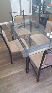 6 piece glass top dining table 5 chairs