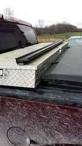 Tonneau cover, tool box and tie rails