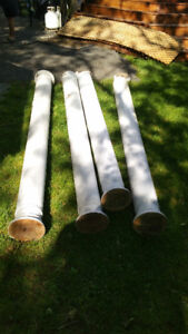 Four round wood outside columns