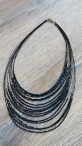 Brand New Midnight Blue Tiered Costume Necklace