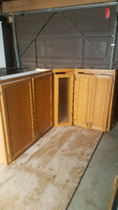 Solid wood corner cabinets, drawers and desk