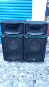 """Peavey PA system dual 15"""" tops and dual 18"""" subwoofer"""