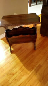 Antique table with magazine rack