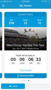 2 tickets for nitro circus oct 7 Rogers place