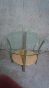 Glass Oval Table with Four Legged Stand