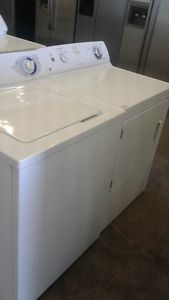 GE White Heavy Duty Washer & Dryer Set Top Load/Front Load