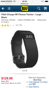 Fitbit Charge HR - Black, Large