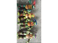 Large teenage mutant ninja turtle figures.