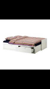 Ikea Daybed frame with 2 drawers, white