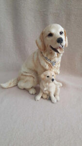 BEAUTIFUL GOLDEN RETRIEVER WITH PUPPY HAND-CRAFTED HAND-PAINTED