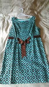 Turqouise & Brown dress - size 16